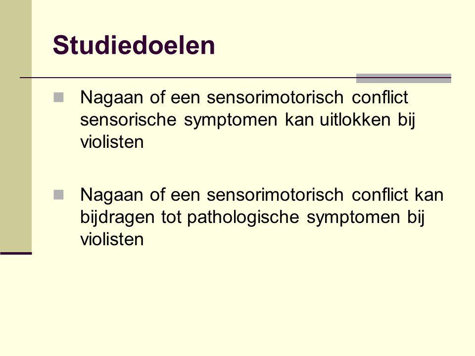 Studiedoelen Nagaan of een sensorimotorisch conflict sensorische symptomen kan uitlokken bij violisten Nagaan of een sensorimotorisch conflict kan bij