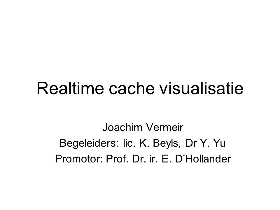 Realtime cache visualisatie Joachim Vermeir Begeleiders: lic. K. Beyls, Dr Y. Yu Promotor: Prof. Dr. ir. E. D'Hollander