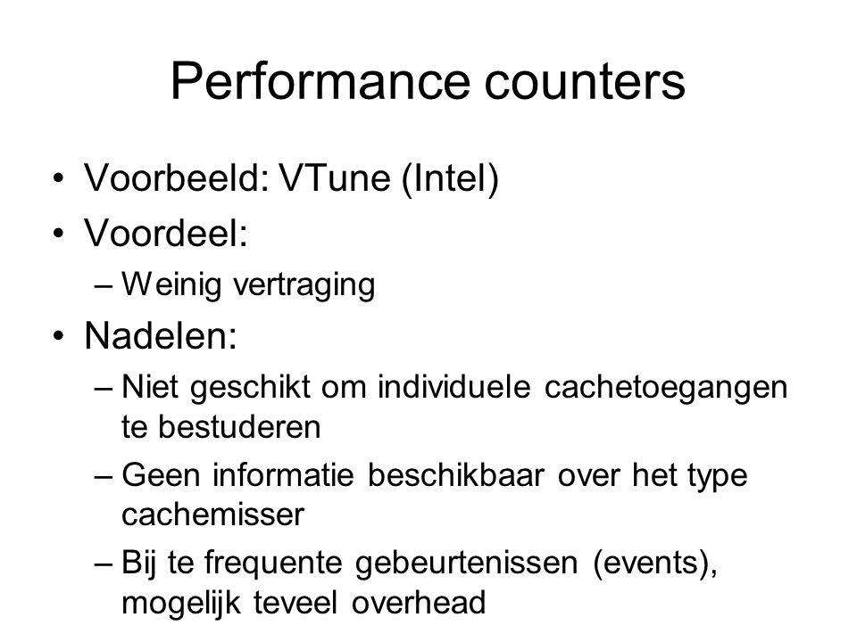 Performance counters Voorbeeld: VTune (Intel) Voordeel: –Weinig vertraging Nadelen: –Niet geschikt om individuele cachetoegangen te bestuderen –Geen i