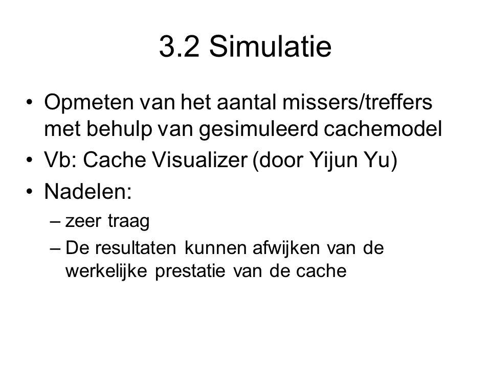 3.2 Simulatie Opmeten van het aantal missers/treffers met behulp van gesimuleerd cachemodel Vb: Cache Visualizer (door Yijun Yu) Nadelen: –zeer traag