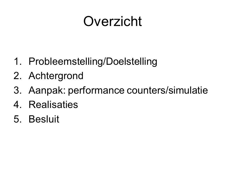Overzicht 1.Probleemstelling/Doelstelling 2.Achtergrond 3.Aanpak: performance counters/simulatie 4.Realisaties 5.Besluit