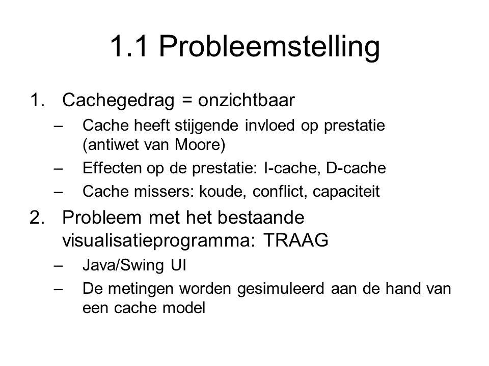1.1 Probleemstelling 1.Cachegedrag = onzichtbaar –Cache heeft stijgende invloed op prestatie (antiwet van Moore) –Effecten op de prestatie: I-cache, D
