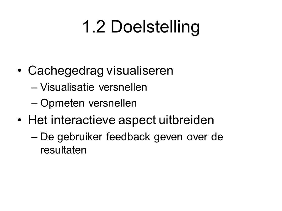 1.2 Doelstelling Cachegedrag visualiseren –Visualisatie versnellen –Opmeten versnellen Het interactieve aspect uitbreiden –De gebruiker feedback geven