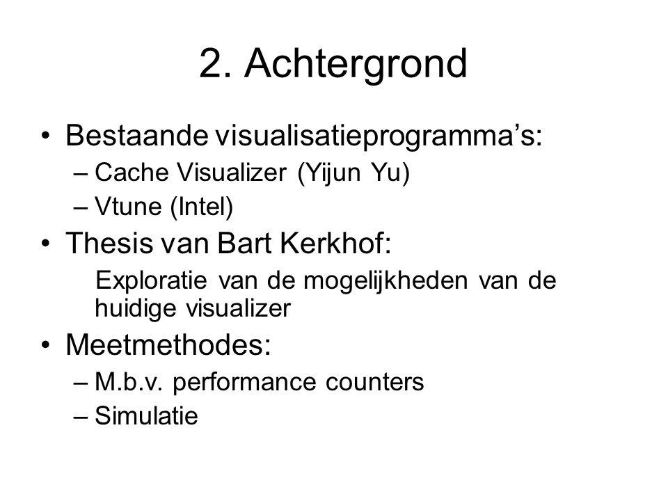 2. Achtergrond Bestaande visualisatieprogramma's: –Cache Visualizer (Yijun Yu) –Vtune (Intel) Thesis van Bart Kerkhof: Exploratie van de mogelijkheden