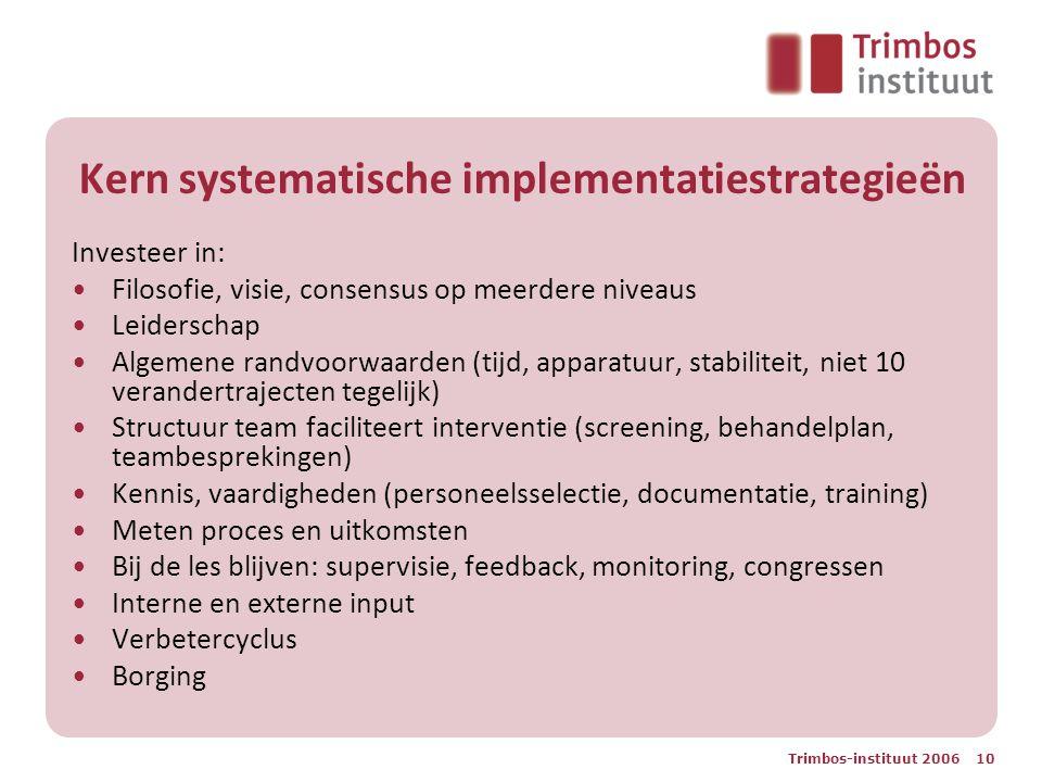 Trimbos-instituut 2006 10 Kern systematische implementatiestrategieën Investeer in: Filosofie, visie, consensus op meerdere niveaus Leiderschap Algeme