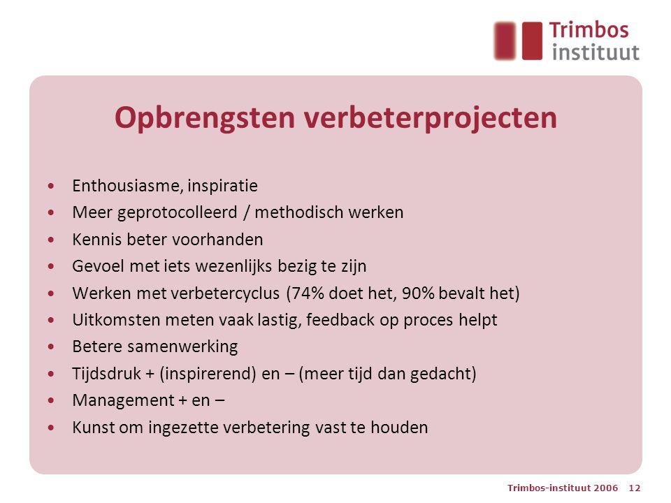 Trimbos-instituut 2006 12 Opbrengsten verbeterprojecten Enthousiasme, inspiratie Meer geprotocolleerd / methodisch werken Kennis beter voorhanden Gevo