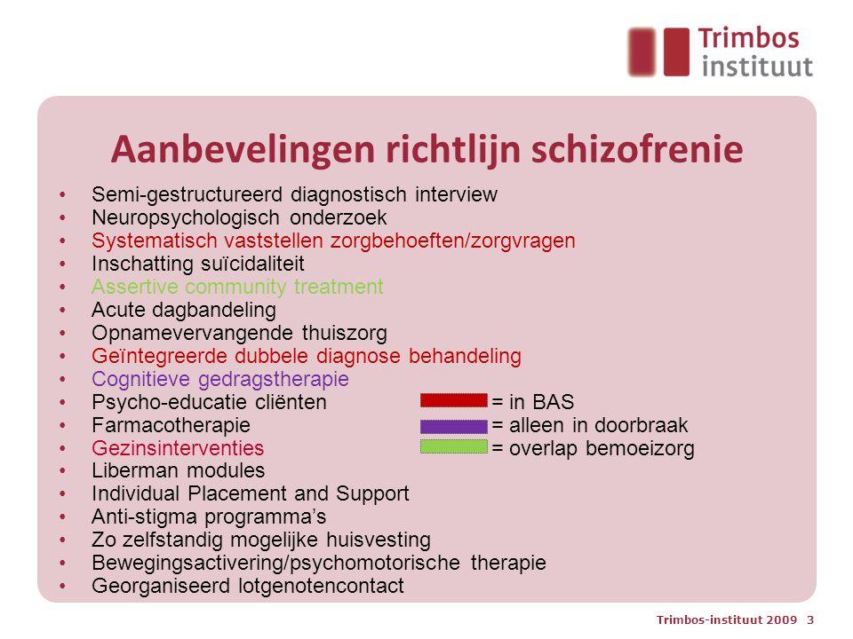 Trimbos-instituut 2009 3 Aanbevelingen richtlijn schizofrenie Semi-gestructureerd diagnostisch interview Neuropsychologisch onderzoek Systematisch vas