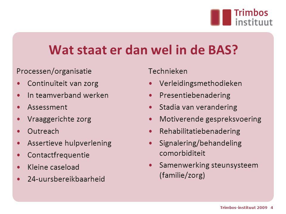 Wat staat er dan wel in de BAS? Processen/organisatie Continuïteit van zorg In teamverband werken Assessment Vraaggerichte zorg Outreach Assertieve hu