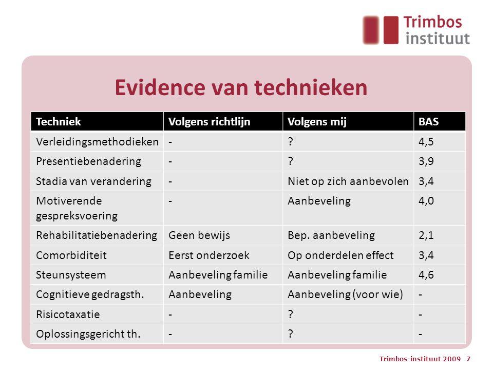 Evidence van technieken TechniekVolgens richtlijnVolgens mijBAS Verleidingsmethodieken-?4,5 Presentiebenadering-?3,9 Stadia van verandering-Niet op zi