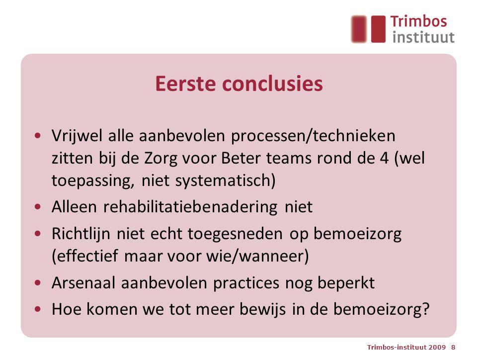 Eerste conclusies Vrijwel alle aanbevolen processen/technieken zitten bij de Zorg voor Beter teams rond de 4 (wel toepassing, niet systematisch) Allee