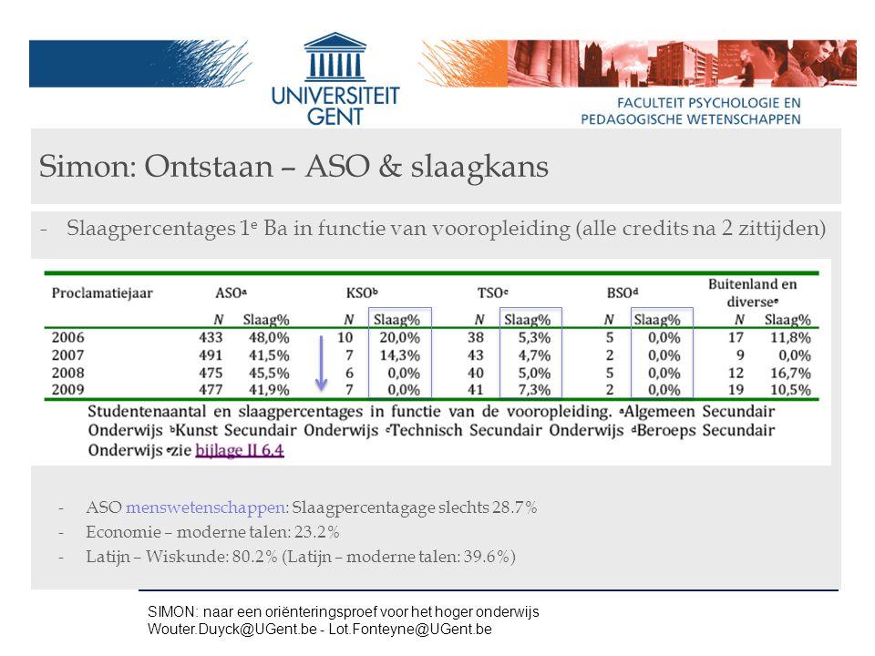 Simon: Ontstaan – ASO & slaagkans -Slaagpercentages 1 e Ba in functie van vooropleiding (alle credits na 2 zittijden) -ASO menswetenschappen: Slaagper