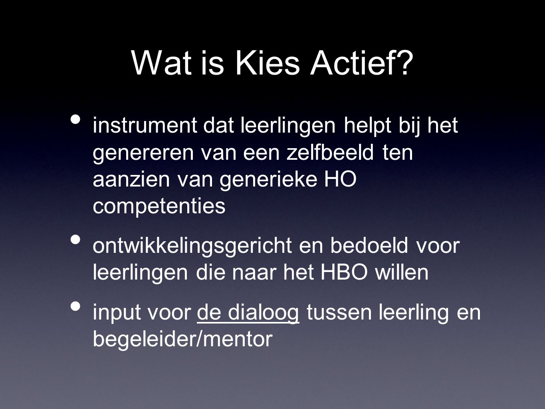 Wat is Kies Actief? instrument dat leerlingen helpt bij het genereren van een zelfbeeld ten aanzien van generieke HO competenties ontwikkelingsgericht