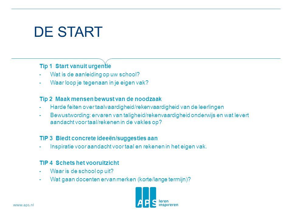 DE START Tip 1 Start vanuit urgentie - Wat is de aanleiding op uw school? - Waar loop je tegenaan in je eigen vak? Tip 2 Maak mensen bewust van de noo