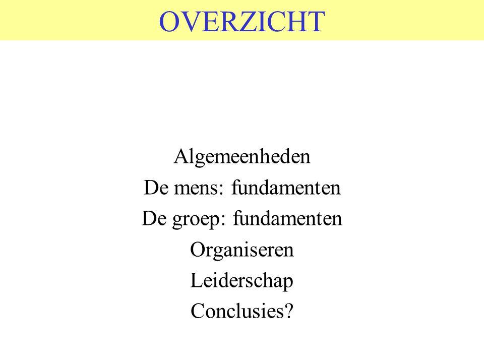 OVERZICHT Algemeenheden De mens: fundamenten De groep: fundamenten Organiseren Leiderschap Conclusies?