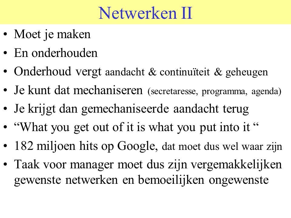 Netwerken II Moet je maken En onderhouden Onderhoud vergt aandacht & continuïteit & geheugen Je kunt dat mechaniseren (secretaresse, programma, agenda