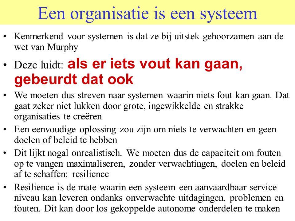 Een organisatie is een systeem Kenmerkend voor systemen is dat ze bij uitstek gehoorzamen aan de wet van Murphy Deze luidt: als er iets vout kan gaan,