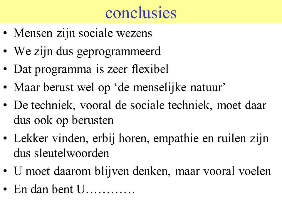 conclusies Mensen zijn sociale wezens We zijn dus geprogrammeerd Dat programma is zeer flexibel Maar berust wel op 'de menselijke natuur' De techniek,