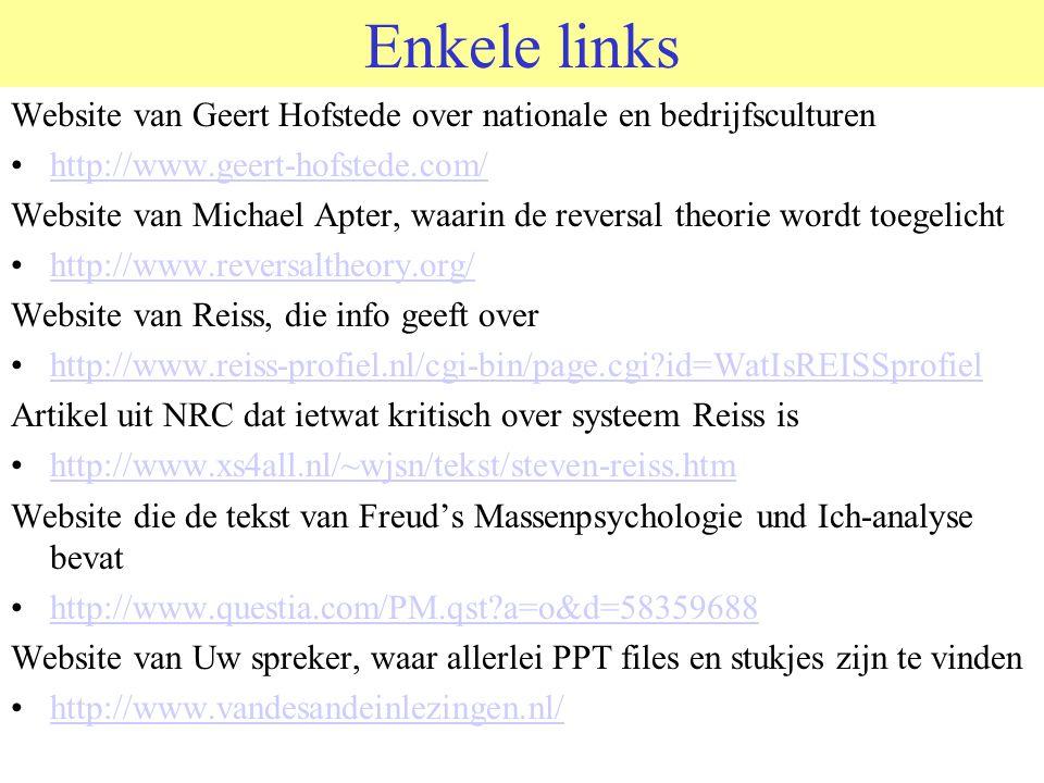 Enkele links Website van Geert Hofstede over nationale en bedrijfsculturen http://www.geert-hofstede.com/ Website van Michael Apter, waarin de reversa
