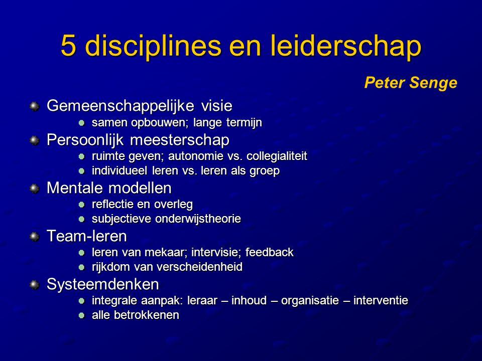 5 disciplines en leiderschap Gemeenschappelijke visie samen opbouwen; lange termijn samen opbouwen; lange termijn Persoonlijk meesterschap ruimte geve