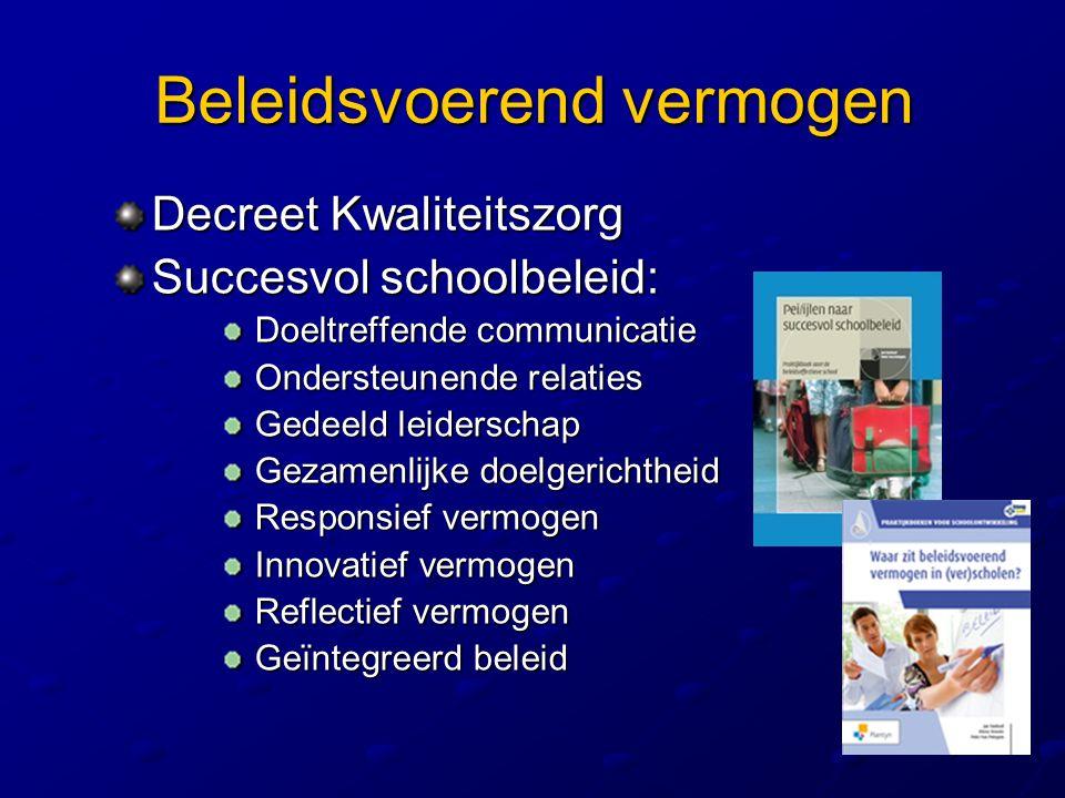 Beleidsvoerend vermogen Decreet Kwaliteitszorg Succesvol schoolbeleid: Doeltreffende communicatie Doeltreffende communicatie Ondersteunende relaties O