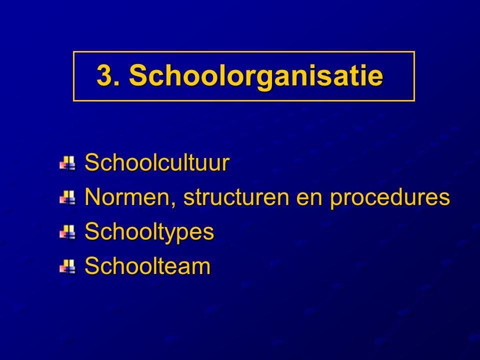3. Schoolorganisatie Schoolcultuur Schoolcultuur Normen, structuren en procedures Normen, structuren en procedures Schooltypes Schooltypes Schoolteam