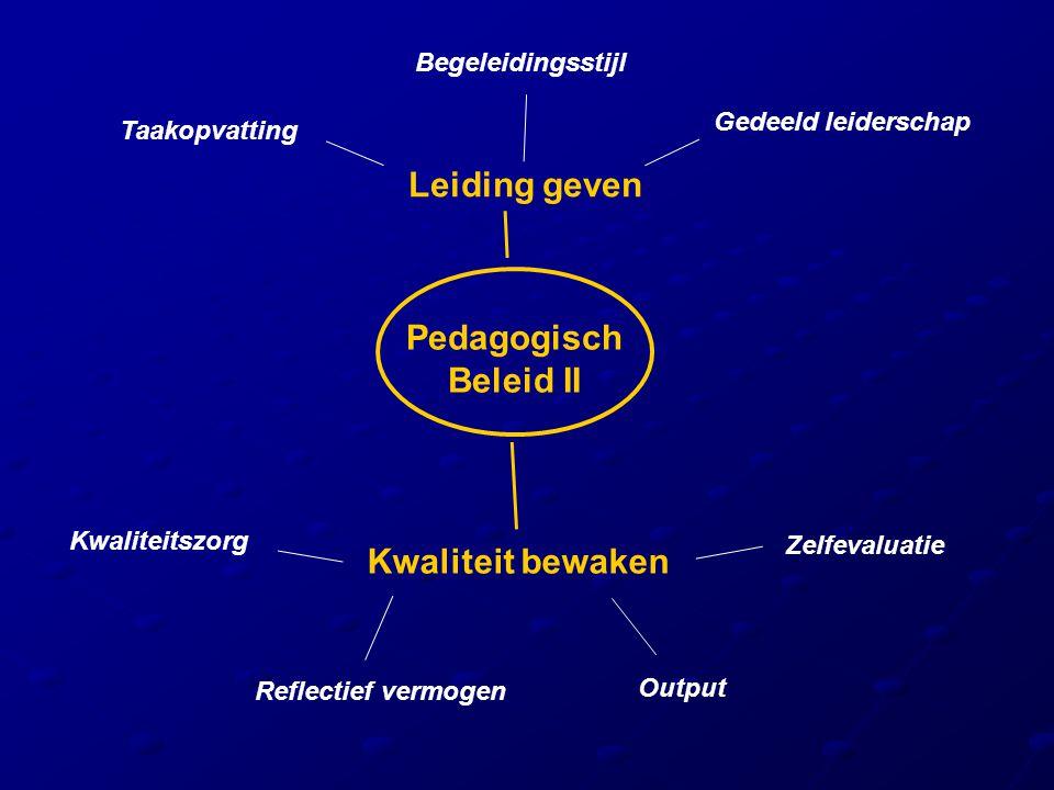 Pedagogisch Beleid II Leiding geven Kwaliteit bewaken Taakopvatting Gedeeld leiderschap Begeleidingsstijl Zelfevaluatie Reflectief vermogen Kwaliteits