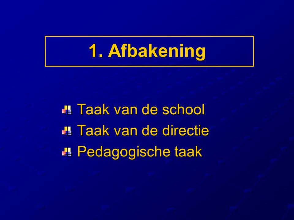 1. Afbakening Taak van de school Taak van de school Taak van de directie Taak van de directie Pedagogische taak Pedagogische taak