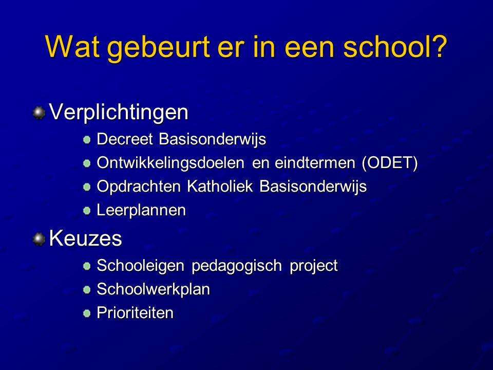 Wat gebeurt er in een school? Verplichtingen Decreet Basisonderwijs Decreet Basisonderwijs Ontwikkelingsdoelen en eindtermen (ODET) Ontwikkelingsdoele