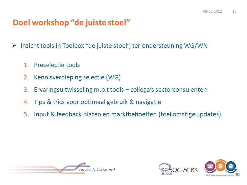 """ Inzicht tools in Toolbox """"de juiste stoel"""", ter ondersteuning WG/WN 1.Preselectie tools 2.Kennisverdieping selectie (WG) 3.Ervaringsuitwisseling m.b"""