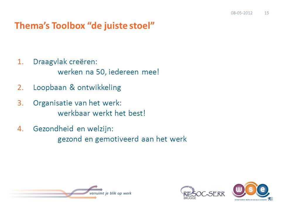 """Thema's Toolbox """"de juiste stoel"""" 1.Draagvlak creëren: werken na 50, iedereen mee! 2.Loopbaan & ontwikkeling 3.Organisatie van het werk: werkbaar werk"""