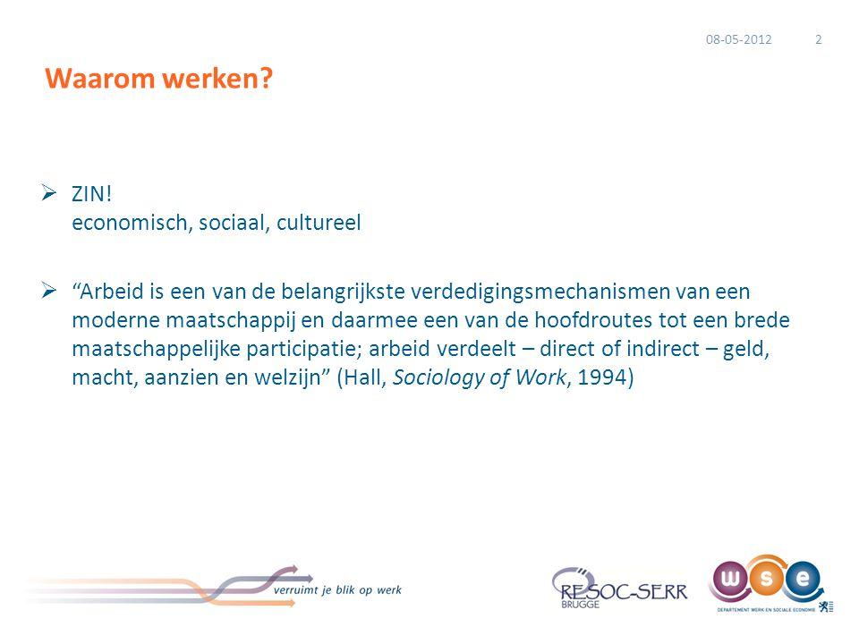 """ ZIN! economisch, sociaal, cultureel  """"Arbeid is een van de belangrijkste verdedigingsmechanismen van een moderne maatschappij en daarmee een van de"""