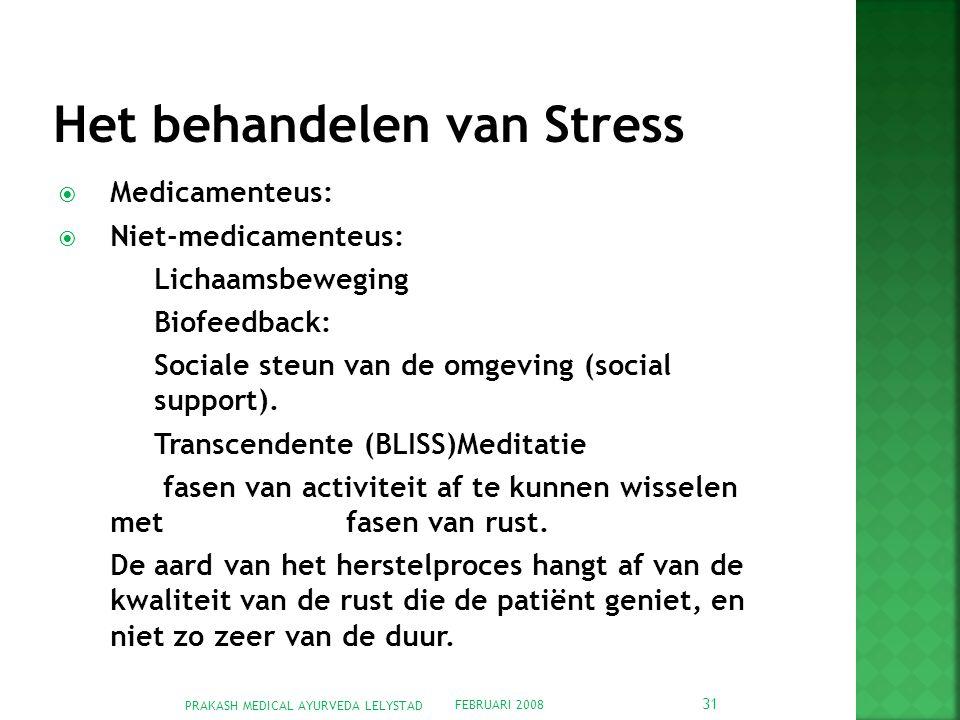 FEBRUARI 2008 PRAKASH MEDICAL AYURVEDA LELYSTAD 31  Medicamenteus:  Niet-medicamenteus: Lichaamsbeweging Biofeedback: Sociale steun van de omgeving (social support).