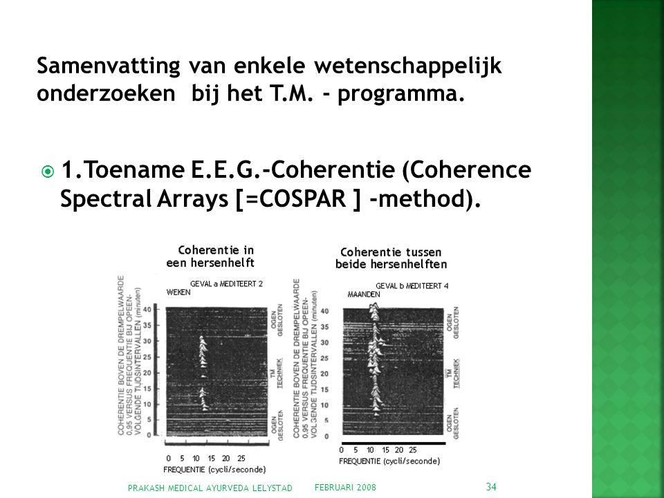FEBRUARI 2008 PRAKASH MEDICAL AYURVEDA LELYSTAD 34  1.Toename E.E.G.-Coherentie (Coherence Spectral Arrays [=COSPAR ] -method).