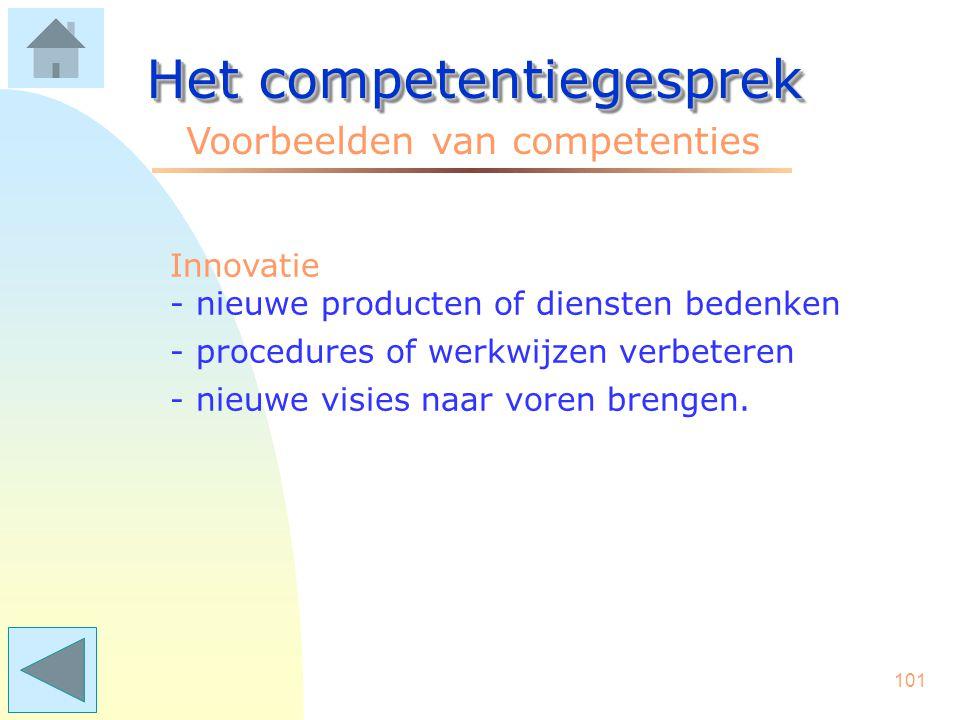 100 Het competentiegesprek Voorbeelden van competenties Initiatief - kansen zien en actie ondernemen - het voortouw nemen bij calamiteiten - oplossing