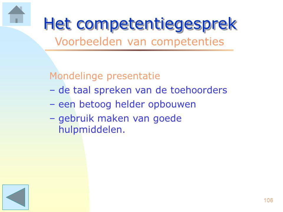 105 Het competentiegesprek Voorbeelden van competenties Luistervaardigheid –doorvragen en anderen de ruimte geven –op non-verbaal gedrag reageren –de