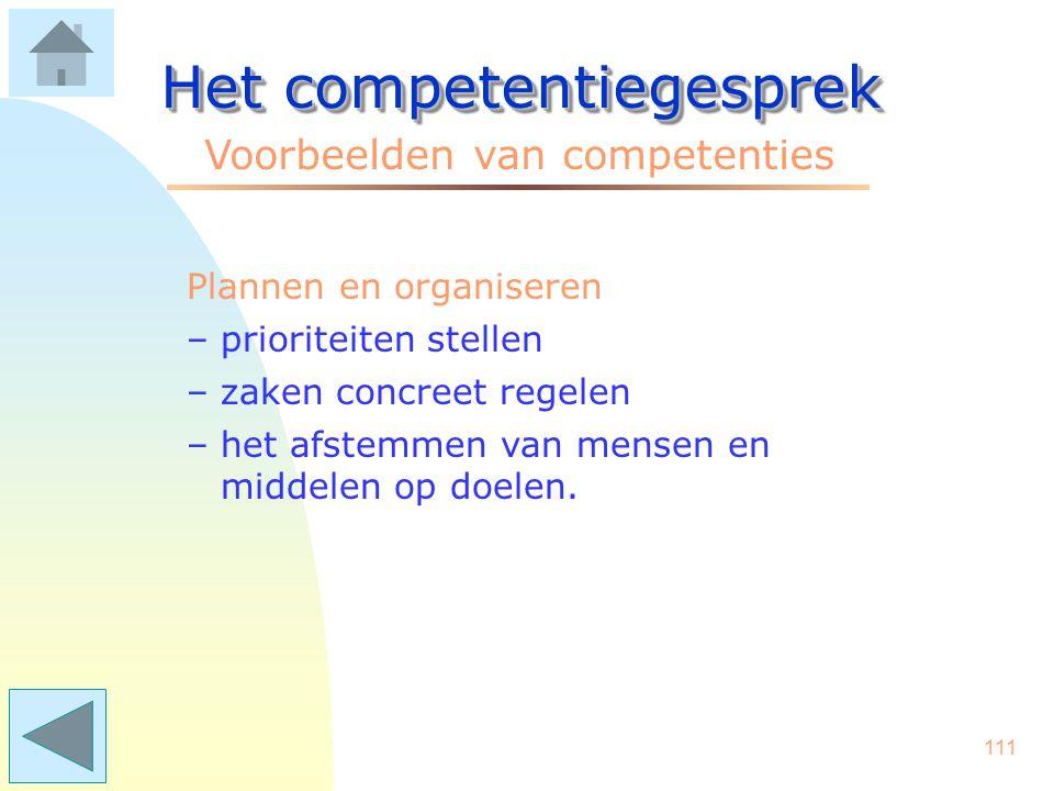 110 Het competentiegesprek Voorbeelden van competenties Overtuigingskracht –met beslistheid en enthousiasme ideeën/voorstellen inbrengen –sterk kunnen argumenteren –een standpunt goed kunnen verdedigen.
