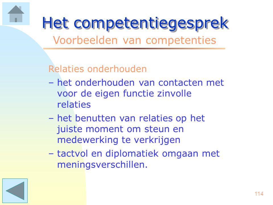 113 Het competentiegesprek Voorbeelden van competenties Probleemaanpak –onderscheid maken tussen oorzaak, de kern van het probleem en de gevolgen –hindernissen voortvarend aanpakken –problemen als een uitdaging zien.