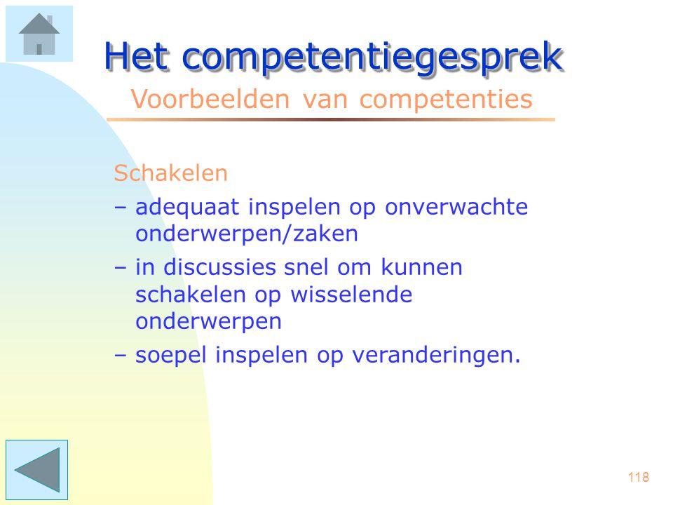 117 Het competentiegesprek Voorbeelden van competenties Schriftelijk presenteren –het schrijven van helder en begrijpelijk Nederlands –teksten afstemmen op de doelgroep –beknopt en feitelijk rapporteren.
