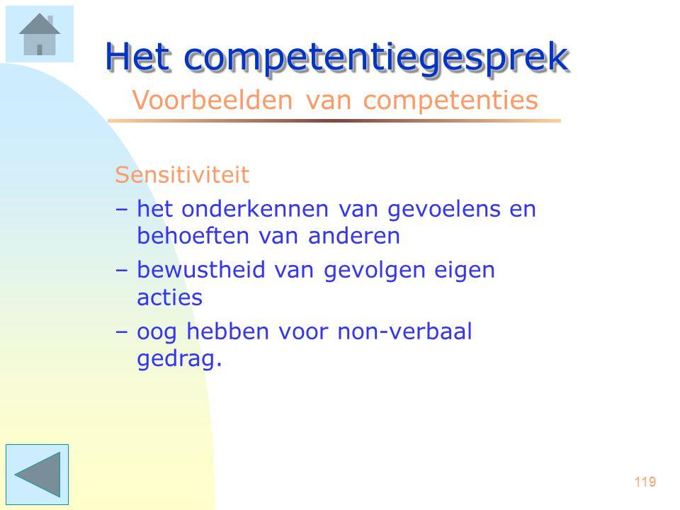 118 Het competentiegesprek Voorbeelden van competenties Schakelen –adequaat inspelen op onverwachte onderwerpen/zaken –in discussies snel om kunnen sc