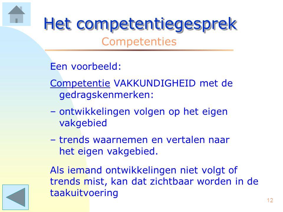 11 Het competentiegesprek Competenties Als iemand zijn/haar werk bijvoorbeeld vaktechnisch niet naar behoren DOET, kan de conclusie zijn dat bijscholing nodig is.