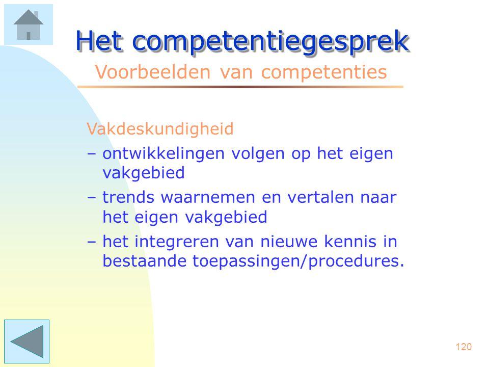 119 Het competentiegesprek Voorbeelden van competenties Sensitiviteit –het onderkennen van gevoelens en behoeften van anderen –bewustheid van gevolgen eigen acties –oog hebben voor non-verbaal gedrag.