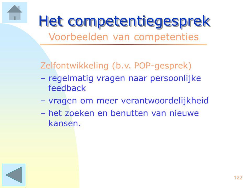 121 Het competentiegesprek Voorbeelden van competenties Voortgangscontrole –het tussentijds bewaken en aanspreken van anderen op de voortgang –het sig