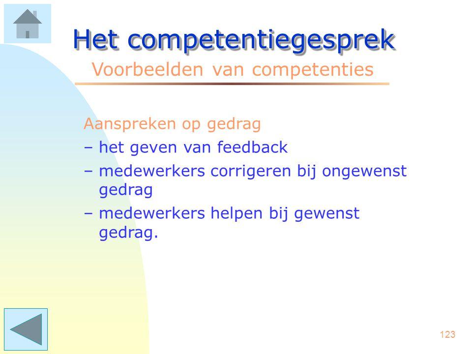 122 Het competentiegesprek Voorbeelden van competenties Zelfontwikkeling (b.v. POP-gesprek) –regelmatig vragen naar persoonlijke feedback –vragen om m