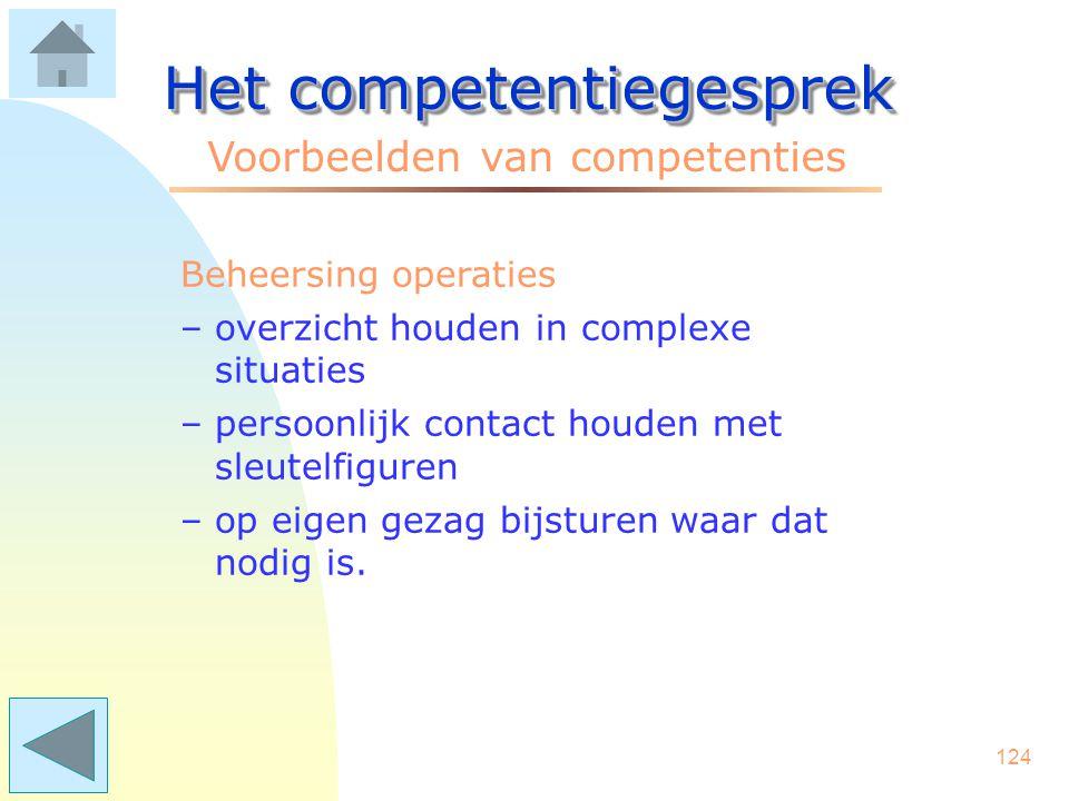 123 Het competentiegesprek Voorbeelden van competenties Aanspreken op gedrag –het geven van feedback –medewerkers corrigeren bij ongewenst gedrag –med