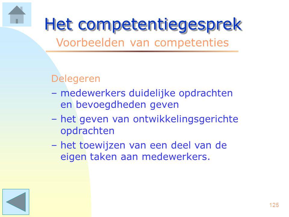 124 Het competentiegesprek Voorbeelden van competenties Beheersing operaties –overzicht houden in complexe situaties –persoonlijk contact houden met s