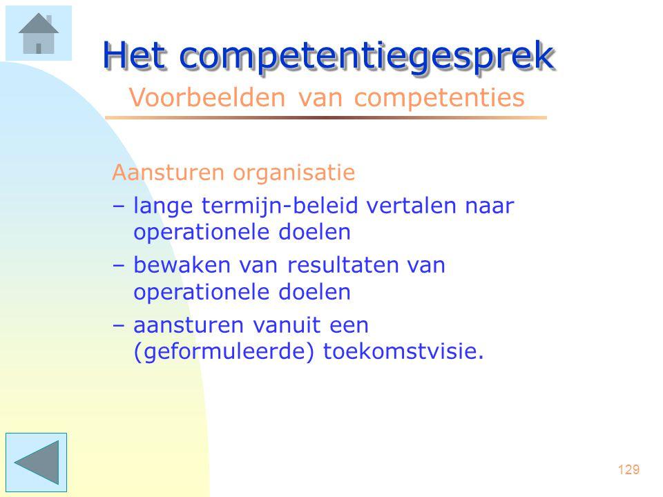 128 Het competentiegesprek Voorbeelden van competenties Motiveren –inspireren met 'schouderklopjes' en positieve feedback –duidelijk maken waar medewe