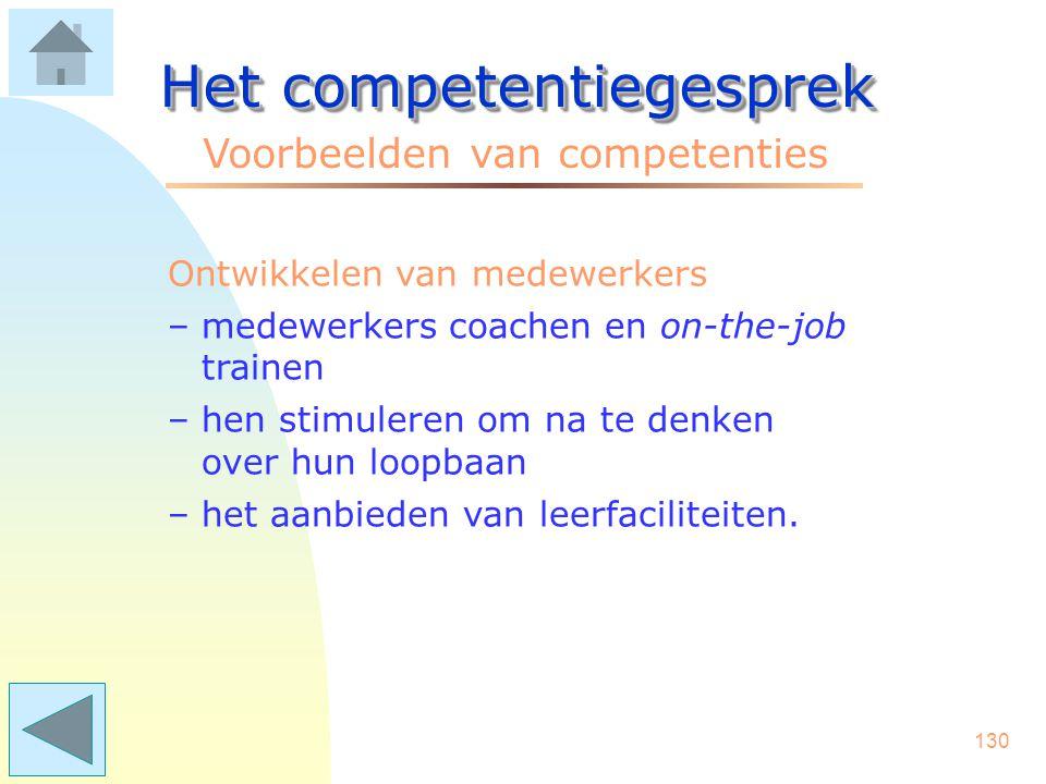129 Het competentiegesprek Voorbeelden van competenties Aansturen organisatie –lange termijn-beleid vertalen naar operationele doelen –bewaken van res
