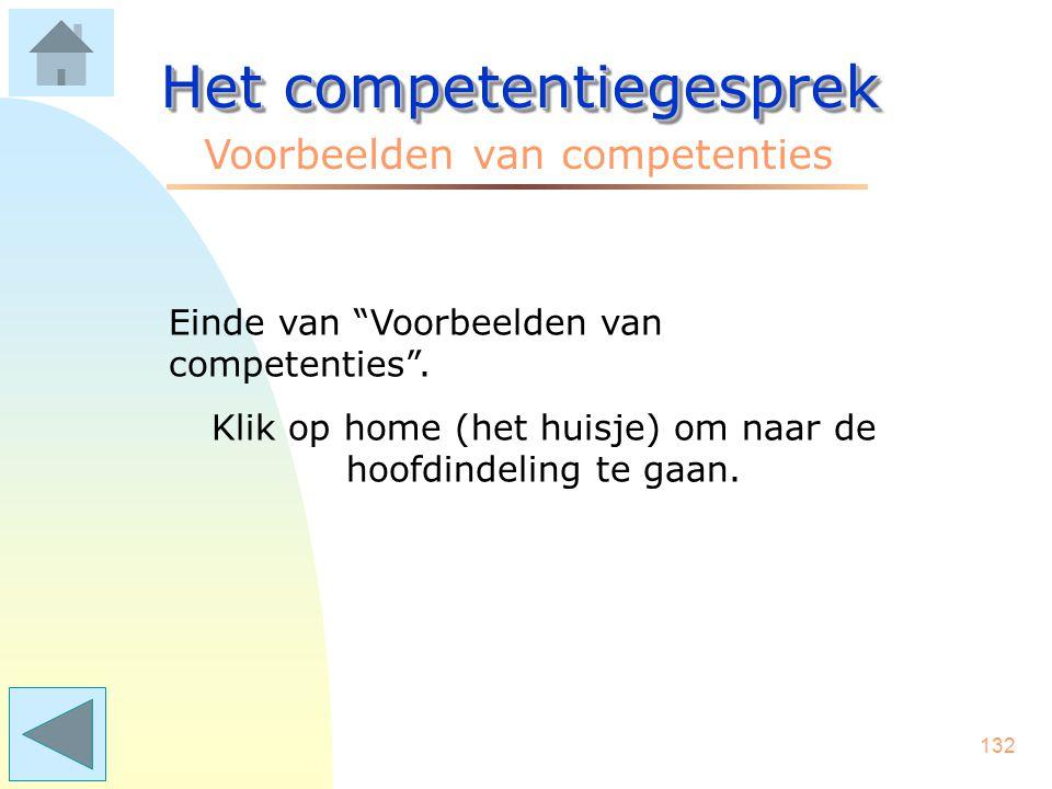 131 Het competentiegesprek Voorbeelden van competenties Taakgericht aansturen –medewerkers duidelijke opdrachten en bevoegdheden geven –SMART gerichte