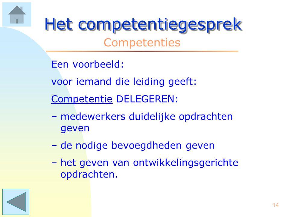 13 Het competentiegesprek Competenties Vraag: Heeft iedereen dezelfde competenties? Antwoord: De competenties worden afgestemd op de taak of functie.