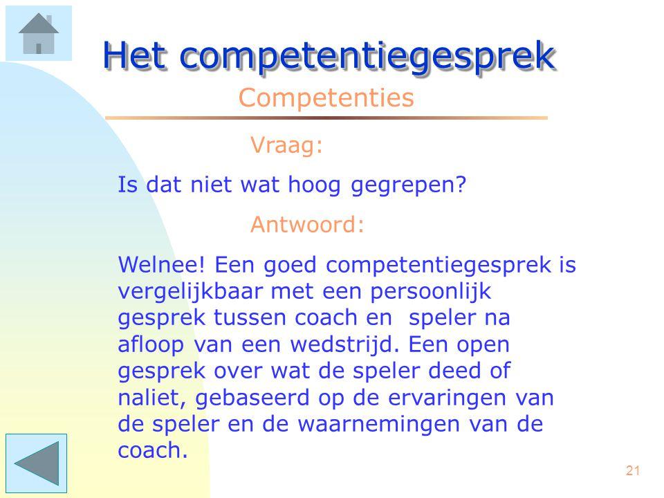 20 Het competentiegesprek Competenties Vraag: Vanuit welke intentie/houding worden deze gesprekken gehouden? Antwoord: Een goed competentiegesprek wer